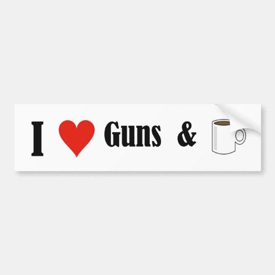 I heart guns and coffee bumper sticker