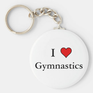 I Heart Gymnastics Basic Round Button Key Ring