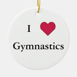 I Heart Gymnastics Round Ceramic Decoration