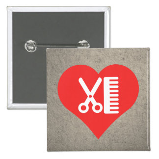 I Heart Hairdresser'S Tools Icon 15 Cm Square Badge