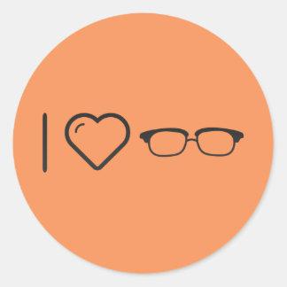 I Heart Half Glasses Round Sticker