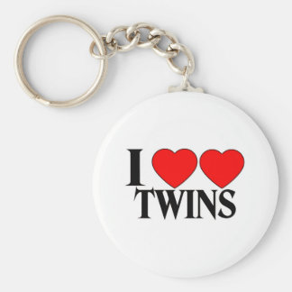 I Heart Heart Twins Basic Round Button Key Ring