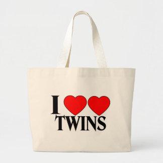 I Heart Heart Twins Tote Bags