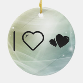 I Heart Hearts Stalkers Round Ceramic Decoration