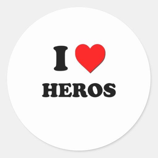 I Heart Heros Round Sticker