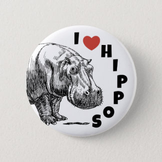 I heart hippos - hippo lovers and fans pin! 6 cm round badge