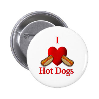 I Heart Hot Dogs 6 Cm Round Badge
