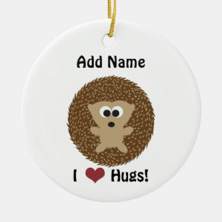 I Heart Hugs hedgehog Christmas Ornament