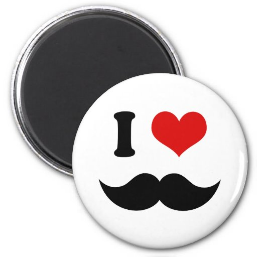 I Heart I Love Black Mustache Refrigerator Magnets