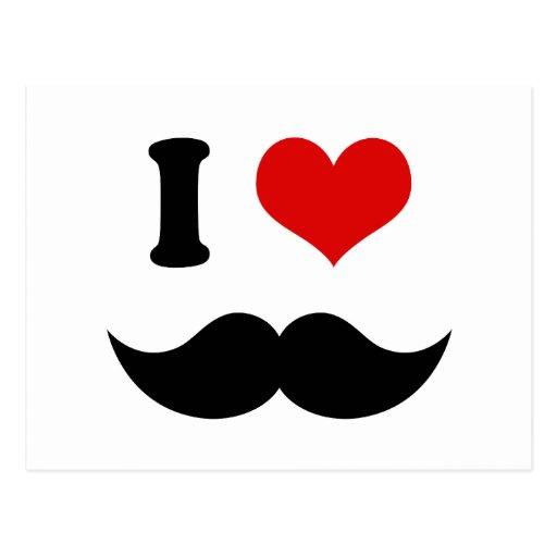 I Heart I Love Black Mustache Postcards