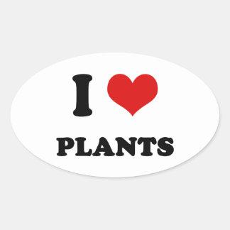 I Heart I Love Plants Oval Sticker