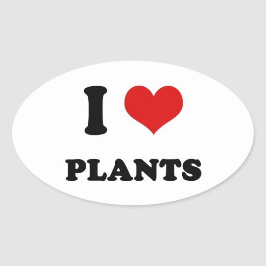 I Heart I Love Plants Oval Sticker