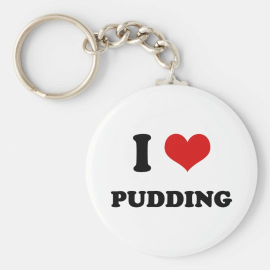 I Heart I Love Pudding Basic Round Button Key Ring
