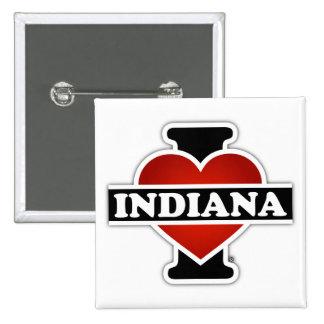 I Heart Indiana 15 Cm Square Badge