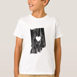 I Heart Indiana Grunge Worn Outline State Love T-Shirt