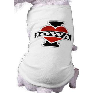 I Heart Iowa Sleeveless Dog Shirt