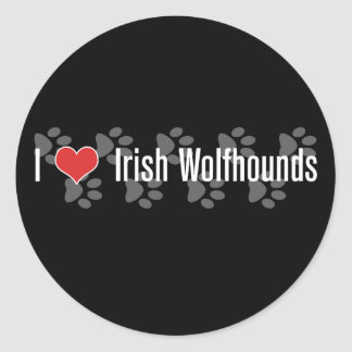 I heart Irish Wolfhounds Round Stickers