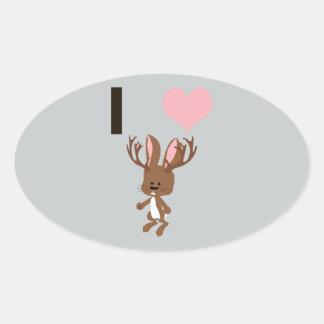 I heart Jackalope Oval Sticker