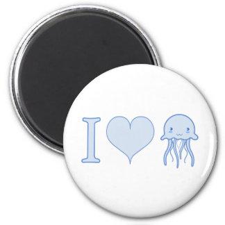 I Heart Jellyfish 6 Cm Round Magnet