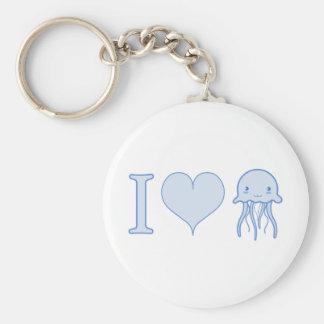 I Heart Jellyfish Basic Round Button Key Ring