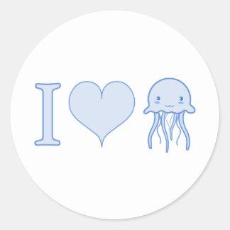I Heart Jellyfish Classic Round Sticker
