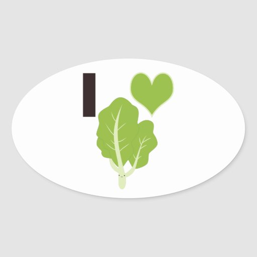 I heart Kale Oval Stickers