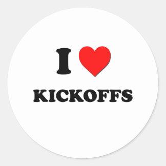 I Heart Kickoffs Round Stickers
