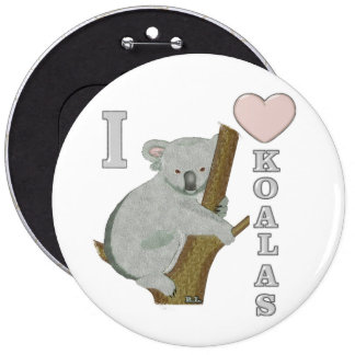 I Heart Koalas Fuzzy Animals 6 Cm Round Badge