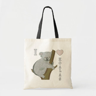 I Heart Koalas Fuzzy Animals AUSTRALIA Tote Bags