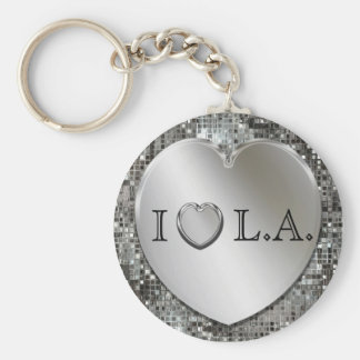 I Heart L.A. Silver Heart Keychain