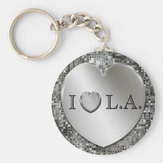 I Heart L A Silver Heart Keychain