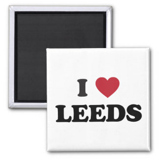 I Heart Leeds England Square Magnet