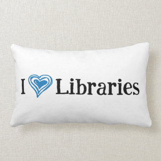 I [Heart] Libraries (black/blue) Lumbar Cushion