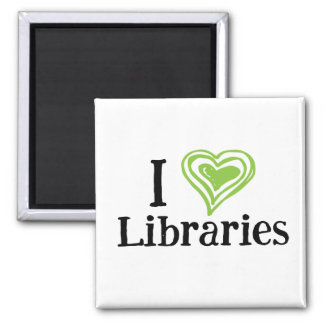 I [Heart] Libraries (black/green) Square Magnet