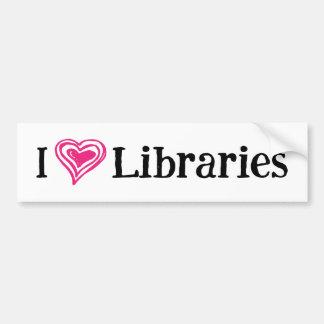 I [Heart] Libraries (white/pink) Bumper Sticker