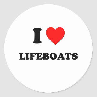 I Heart Lifeboats Classic Round Sticker