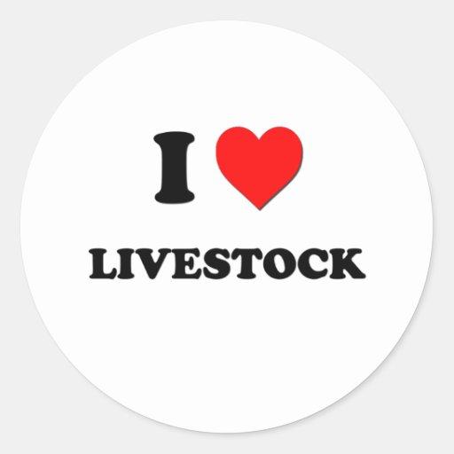 I Heart Livestock Round Sticker