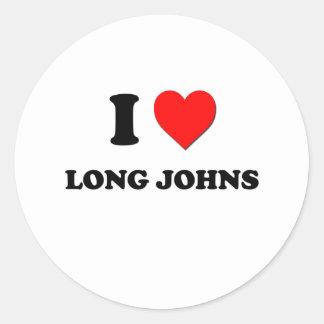 I Heart Long Johns Round Sticker