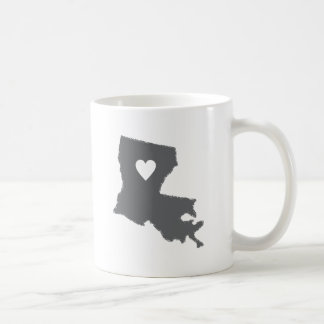 I Heart Louisiana Grunge Look Outline State Love Basic White Mug