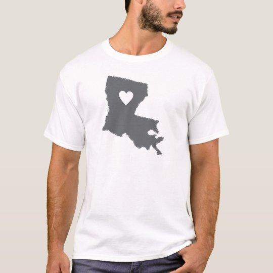 I Heart Louisiana Grunge Look Outline State Love T-Shirt