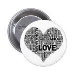 I HEART LOVE 6 CM ROUND BADGE