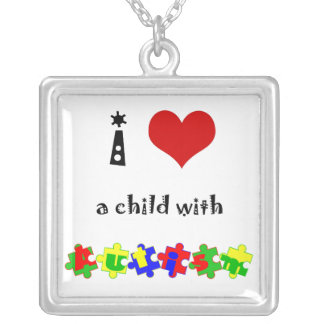 I Heart (Love) a Child with Autism Silver Plated Necklace