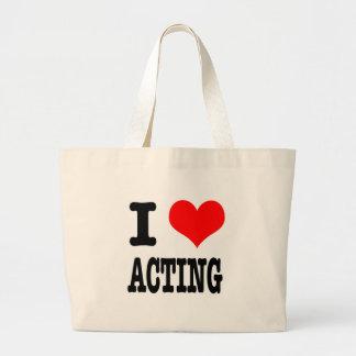 I HEART (LOVE) ACTING JUMBO TOTE BAG