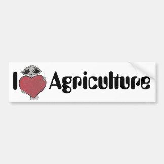 I Heart Love Agriculture Alien Bumper Sticker