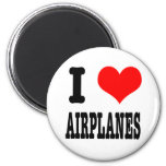 I HEART (LOVE) AIRPLANES 6 CM ROUND MAGNET