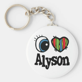 I Heart (Love) Alyson Basic Round Button Key Ring