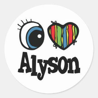 I Heart (Love) Alyson Round Sticker