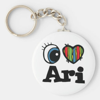 I Heart (Love) Ari Basic Round Button Key Ring