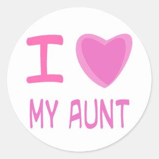 I Heart (Love) aunt Round Sticker
