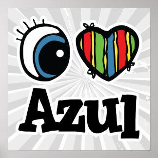 I Heart (Love) Azul Poster
